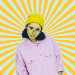 Collage poster art of fashion pretty alien girl in sunglasses and yellow hat on psychedelic...