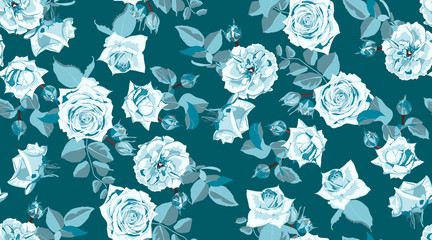 Seamless Floral Rose Pattern in Watercolor Style.