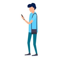 Boy watch smartphone icon. Flat illustration of boy watch smartphone vector icon for web design