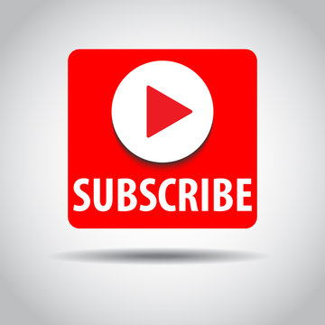 SUBSCRIBE - button color with shadow. Vector illustration