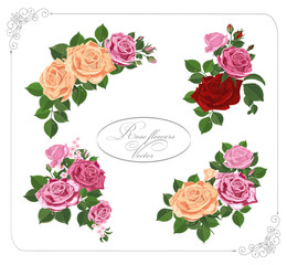 Colorful bouquets of roses with green leaves buds isolated on white background. Wedding, birthday, design, invitation card Template.