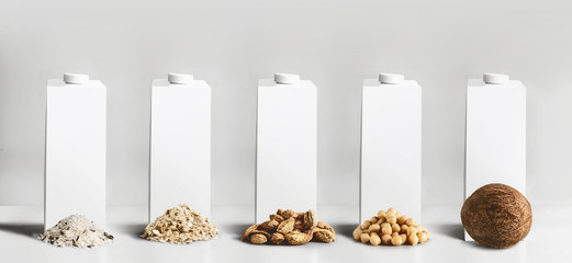 Vegan milk concept. White blank packaging, tetra-pack,  packet cartons with mock up to branding or design with best vegan milk ingredients: rice,  oatmeal, almond, soy and coconut at gray background