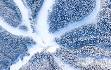 Photo sur Toile Vue aerienne Aerial view at the slope on ski resort. Forest and ski slope from air. Winter landscape from a drone. Snowy landscape on the ski resort. Aerial photography
