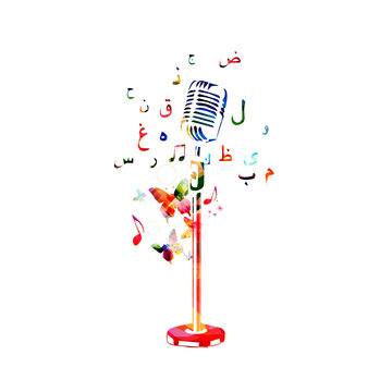 Colorful microphone with music notes and Arabic Islamic calligraphy symbols vector illustration design. Music background. Karaoke poster, music festival poster, live concert events, party flyer