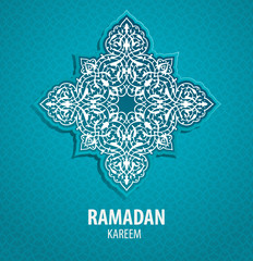 Greeting card for islamic holiday Ramadan. Traditional ornament.