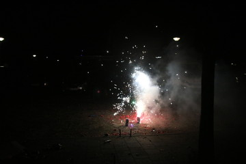 Firework explosing during new years eve in Nieuwerkerk aan den IJssel in the Netherlands
