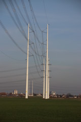 Power lines at Pijnacker in the Netherlands with modern posts from Wateringen to Beverwijk with 380 KV power