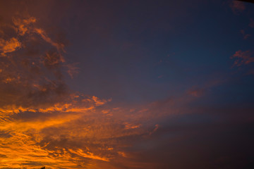 Golden blue hours burning cloudy sky sunset high resolution image