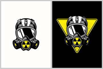 gas mask with nuclear symbol vector template