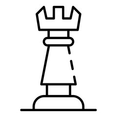 Chess rook icon. Outline chess rook vector icon for web design isolated on white background