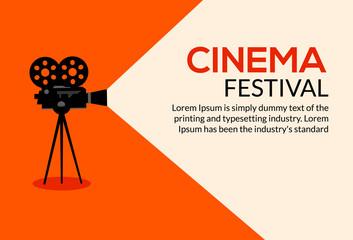 Cinema movie poster design. Vector film camera background retro brochure cinema illustration