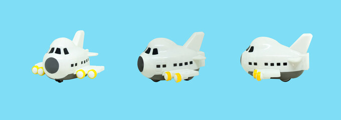 White small airplane toys isolated on blue background.