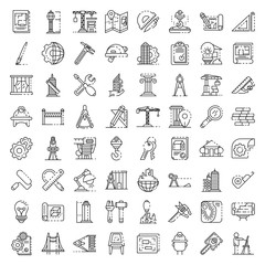 Architect equipment icons set. Outline set of architect equipment vector icons for web design isolated on white background