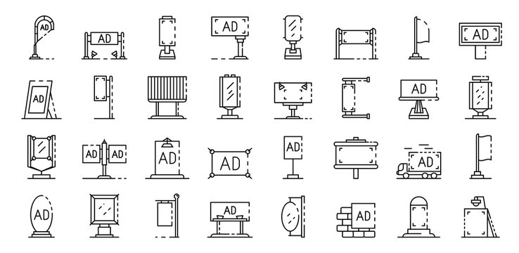Outdoor advertising icons set. Outline set of outdoor advertising vector icons for web design isolated on white background