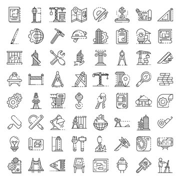 Architect equipment icons set. Outline set of architect equipment vector icons for web design isolated on white background