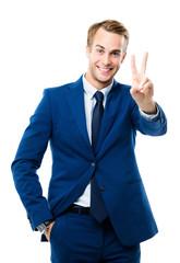 happy gesturing businessman
