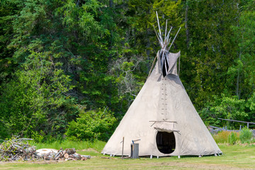A teepee tent. The tent is in a field with trees behind it. The flap on the front is open.