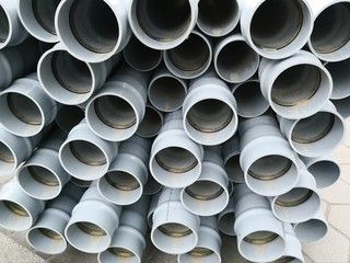 Industrial construction background sewer pipes