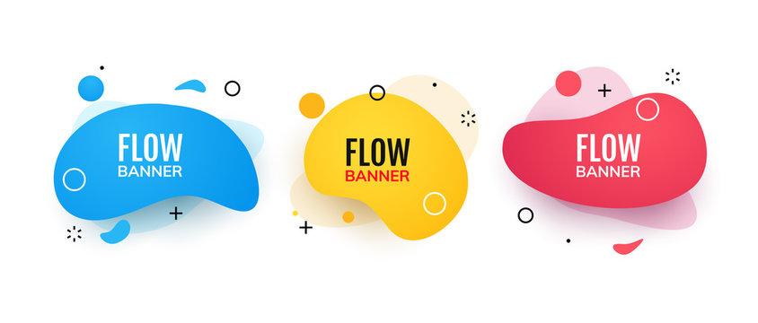 Abstract flow banner memphis style template. Creative modern design futuristic banner
