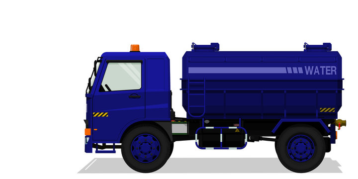 Isolated water tanker truck on transparent background
