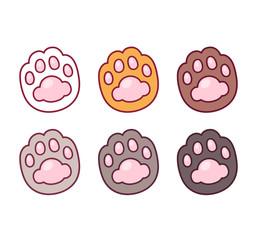 Cartoon cat paw prints set