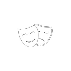 Theater masks. flat vector icon