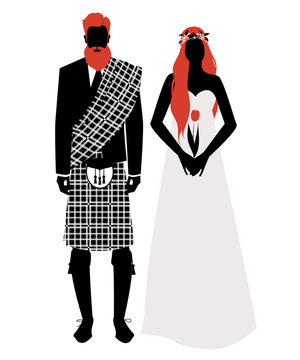 Silhouettes of newlyweds couple wearing wedding clothes Scottish style. Stylish bearded and redhead groom wearing traditional Scottish clothes and beautiful long-haired redhead bride holding a tulip