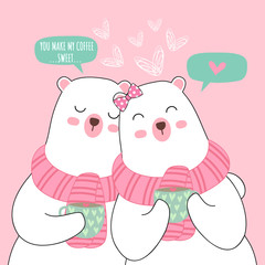 Cute hugging polar bears in love holding a cup of coffee,decorated with heart and quote.Vector illustration for prints, poster, greeting card and wedding invitation,T-shirt.Valentine's day concept.