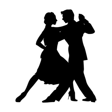 Silhouette of a pair of dancers, ballroom and sports dances