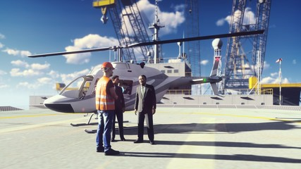 Oil Businessman And Foreman talking at an Oil offshore Platform In the Sea near the helicopter. 3D Rendering