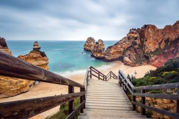 Praia do Camilo, Long Exposure, Wooden Stair, Beautiful Beach in Algarve, Portugal