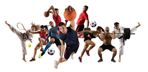 Huge multi sports collage taekwondo, tennis, soccer, basketball, football Wall mural