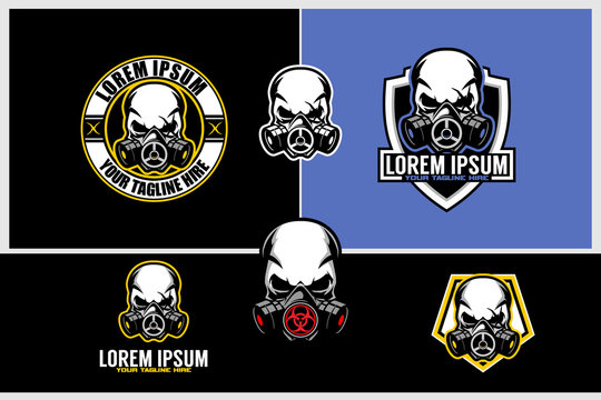 simple skull gas mask vector badge logo template template collection