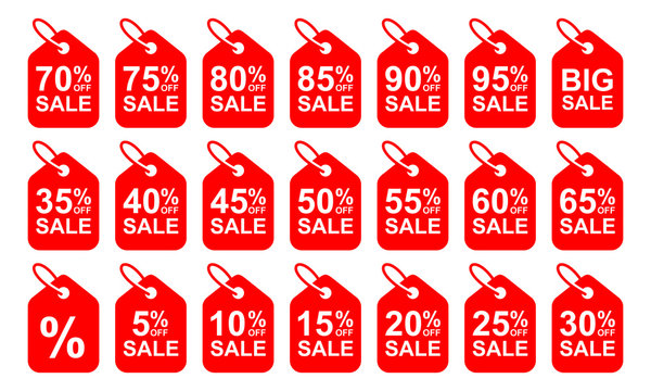 OFF Sale Discount Banner. Sale discount icons. Special offer price signs. Discount Tag Isolated Vector Illustration.