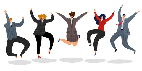 Business people jumping. Excited happy employees jump cartoon motivated team office worker celebrating success winning