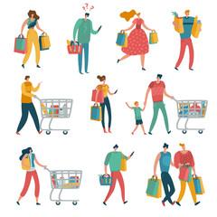 Shopping people set. Man woman shop family cart consume lifestyle retail purchase store shopaholic female mall shopper