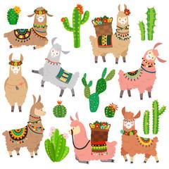 Llama cactus. Chile llamas alpaca and cacti wild lama. Peru camel, girl scrapbook kids funny elements cartoon vector set