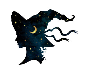 Silhouette of beautiful curly witch girl in pointy hat with crescent moon and stars in profile isolated hand drawn vector illustration.