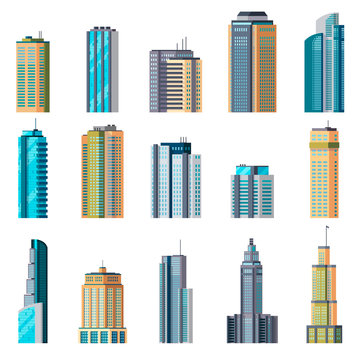Buildings and modern city houses. Building business office apartment exterior flat home tall glass skyscraper town set