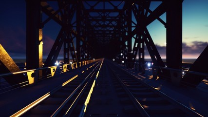 Railway bridge with Night cars lights on a sunset against the blue sky and the sea. 3D Rendering