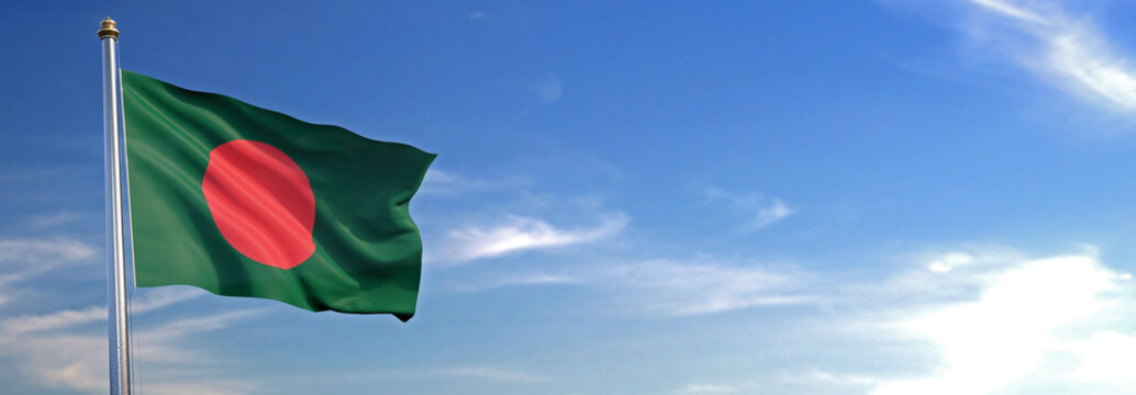 Flag of Bangladesh rise waving to the wind with sky in the background