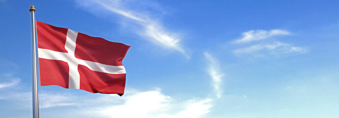 Flag of Denmark rise waving to the wind with sky in the background