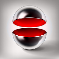 Vector chrome hollow sphere, open glossy metal ball, red inside, abstract object for you project design