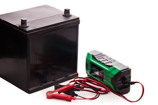Car accumulator battery and charger.
