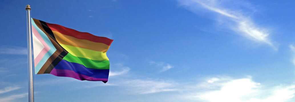 Flag of New LGBT rise waving to the wind with sky in the background