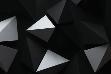 Close-up of geometric paper shapes, composition for abstract background