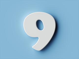 White paper digit alphabet character 9 nine font