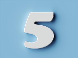 White paper digit alphabet character 5 five font
