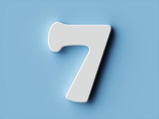 White paper digit alphabet character 7 seven font