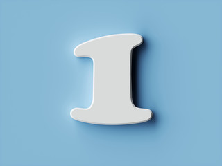 White paper digit alphabet character 1 one font